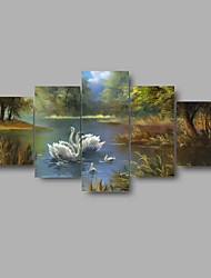 HD Print Swan Lake scenery Painting on Canvas Wall Art 5pcs/set Home Decor (No Frame)
