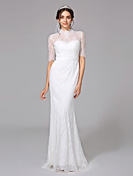 Mermaid / Trumpet High Neck Sweep / Brush Train Lace Wedding Dress by LAN TING BRIDE®