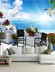 Art Deco Wallpaper For Home Wall Covering Canvas Adhesive Required Mural Seaside Blue Sky Seagull Landscape XXXL(448*280cm)
