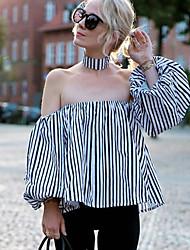 Tee-shirt Femme,Rayé Sortie Décontracté / Quotidien Vintage Chic de Rue Printemps Eté Manches Longues Bateau Spandex Cuirs Particuliers