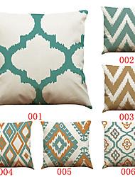 6 штук Лён Наволочка Наволочки,Однотонный Текстура геометрический Традиционный/классический Поддерживать Пляжный стиль