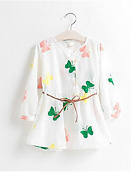 Girl's Floral Dress,Cotton Summer Spring Fall Long Sleeve