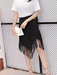 A Line Solid Skirts,Casual/Daily Street chic Mid Rise Mini Zipper Cotton Micro-elastic Spring Summer
