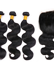 Vinsteen 100% Virgin Peruvian Hair Body Wave with Lace Closure Machine Double Weft Natural Color 4pcs/lot 8-30inches Wholesale Price