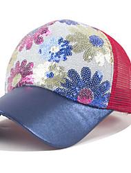 femmes soleil imprimé fleur sequin couleur épissage bouchon net respirante casquette de baseball