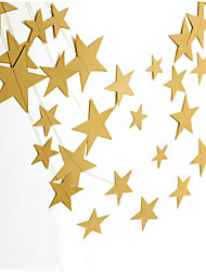 RayLineDo® 1 Piece 4 Metres Golden Paper Garland For Wedding Birthday Anniversary Party Christmas Girls Room Decoration Stars Shape 7*7CM