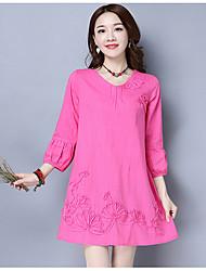 подписать оригинал весной новые женщины&# 39, S сладкий сплошной цвет фонарь рукав хлопок платье семь