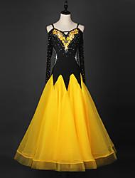 Werden wir Ballsaal Tanzkleider Frauen Performance Chinlon Organza Kristalle / Strass lange Ärmel Kleid