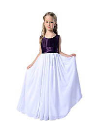 A-line Floor-length Flower Girl Dress - Organza Scoop with Lace