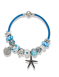 Blue Strand Bracelet Charm Bracelet Crystal Alloy Flower Natural Starfish Shell Wedding Party Special Occasion Anniversary Birthday
