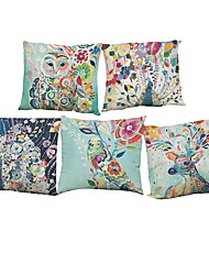 Set of 5 Watercolor peacock pattern  Linen Pillowcase Sofa Home Decor Cushion Cover (18*18inch)