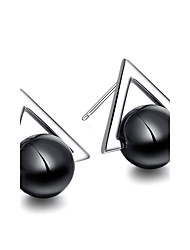 925 Sterling Silver Earrings Black Triangle Onyx AAA Cubic Zirconia Stud Earrings Jewelry