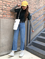 Sign Nett side of the triangle dark blue jeans retro spell color high waist wool fringe straight pantyhose