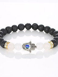 European And American Fashion Beaded Bracelet Natural Stone Lava-Rock Palm Bracelet