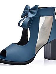 Women's Heels Comfort PU Spring Summer Casual Dress Comfort Bowknot Chunky Heel Block Heel Black Blue 2in-2 3/4in