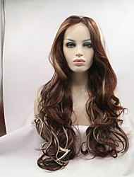 Sylvia Synthetic Lace Front Wig Dark Brown With Blonde Highlighted Natural Wave Heat Resistant Synthetic Wigs