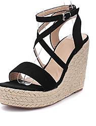 Women's Sandals Summer Gladiator Microfibre Dress Wedge Heel Lace-up Black Brown