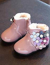 Bebê-Rasos-Conforto-Rasteiro-Chocolate Preto Rosa claro-Couro Envernizado-Ar-Livre Casual