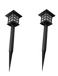 2PCS Retro Outside Land Stake Light Waterproof Solar Lawn Lamps Spotlight LED Path Hallway Lantern Outdoor Garden Backyard Lighting