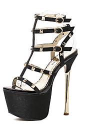 Damen-High Heels-Kleid-PU-StöckelabsatzGold Schwarz