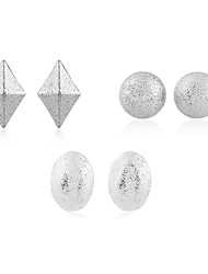 Non Stone Stud Earrings Jewelry Wedding Party Casual Silver Plated Gold Plated 1set Gold Silver