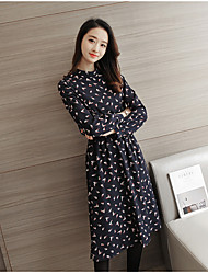 Spring Floral Dress Korean version of the long section loose big yards was thin long-sleeved chiffon long skirt bottoming