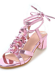 Women's Sandals Comfort Club Shoes Leatherette Spring Summer Outdoor Dress Comfort Club Shoes Applique Sequin Imitation Pearl Chunky Heel