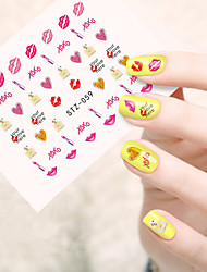 10pcs/set Sweet Style Nail Art Water Transfer Decals Beautiful Lipstick Lovely Love Heart Design Nail Beauty Sticker STZ-059