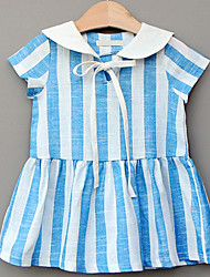 Girl's Sports Striped Dress,Linen Summer Short Sleeve
