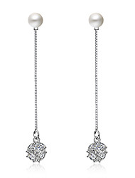 Earring 925 Sterling Silver Imitation Pearl Long Drop Earrings Jewelry Wedding Party Daily Casual
