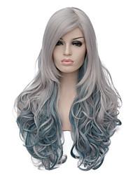 Европейская и американская мода ежедневно дым серый градиент длинные вьющиеся волосы участник cos парик 1402