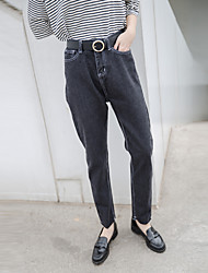 Sign new Korean version was thin waist AA loose black jeans small straight jeans female wild
