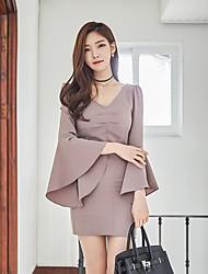2017 корейская версия новой весной и летом тонкий тонкий платье труба рукав v-образным вырезом платья юбки женщин