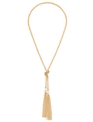 Lureme Simple Thin Chain Knot and Tassel Long Necklace