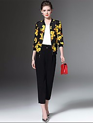Feminino Jaqueta Casual Simples Primavera,Floral Curto Poliéster Colarinho Chinês Manga ¾