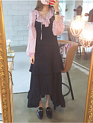 Spot 17 cents over the spring and summer Famous Chic suspenders flounced skirt split oversized swing dress
