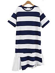 Europa Station Größe Frauen&# 39; s unregelmäßigen Chiffon- Naht lange T-Shirt gestreiftes Kurzarm-Kleid