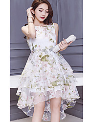 Sign 2017 summer new organza dress Slim female irregular beach dress tutu princess dress