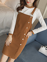 Women's Casual/Daily Simple All Seasons T-shirt Dress Suits,Solid Round Neck Long Sleeve
