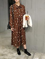 signe sen femme petit col floral rétro robe à manches longues est l'impression mince section longue jupe creux de la vague