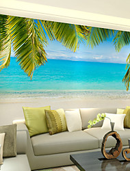 Art Deco Wallpaper For Home Wall Covering Canvas Adhesive Required Mural Colored Beach Scenery Beach Background XXXL(448*280cm)