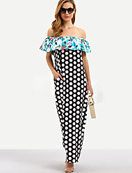 HOT!M-XL Plus Size Women's Going out Casual/Daily Sexy Simple Loose DressPolka Dot Print Boat Neck Maxi Sleeveless Summer Mid Rise Micro-elastic