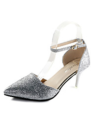 Women's Heels Club Shoes PU Spring Summer Dress Party & Evening Club Shoes Sequin Buckle Stiletto Heel Black Sliver 3in-3 3/4in