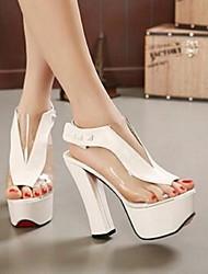 Damen-High Heels-Lässig-Lackleder-Blockabsatz-Komfort-Weiß Schwarz