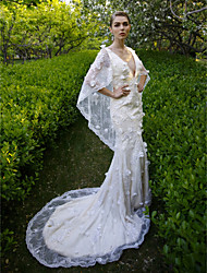Mermaid / Trumpet V-neck Court Train Lace Wedding Dress with Sequin Flower by LAN TING BRIDE®