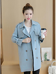 2016 fat MM autumn new solid color double-breasted coat and long sections loose big yards long-sleeved jacket