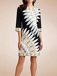 Signer aliexpress european and american fashion haut de gamme imprimé numérique slim dress peacock