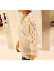 Primavera coreano mulheres jardas rendas costura estudantes blusa chiffon carregado de mangas compridas mancha grande mancha