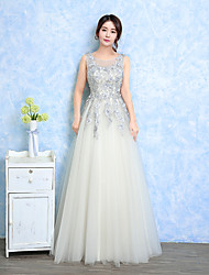 Formal Evening Dress A-line Jewel Floor-length Lace Tulle with Lace