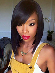 Black Color Bob Lace Front Wigs Human Straight Human Hair 130% Density Brazilian Virgin Hair Bob Wigs with Side Bang
